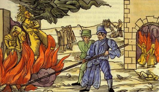 Femmes suspectées de sorcellerie livrées au bûcher.